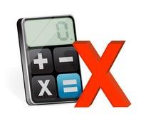 Отрицательная метка и современный калькулятор иллюстрация штока