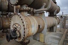 Отростчатые охладитель или обменник для рафинадного завода или химического завода стоковое изображение rf