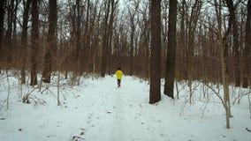 Отслеживать съемку человека бежать в лесе на снеге покрыл путь на зимний день акции видеоматериалы