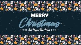 Отснятый видеоматериал глобуса снега и звезды ChristmasFootage снеговика, Санта Клауса, колоколов, и тросточек конфеты для весело иллюстрация штока