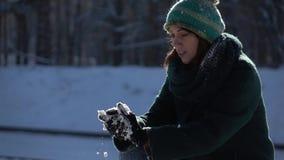 отснятый видеоматериал Медленн-mo Красивая маленькая девочка делая снежный ком в лесе акции видеоматериалы