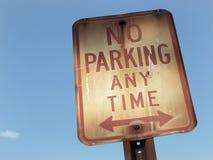 Отсутствие автостоянки знака в любое время Стоковая Фотография