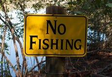Отсутствие белизны черноты знака рыбной ловли Стоковое Фото