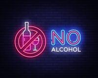 Отсутствие вектора неоновой вывески алкоголя Неоновая вывеска шаблона дизайна алкоголя запрета, светлое знамя, неоновый шильдик,  иллюстрация вектора