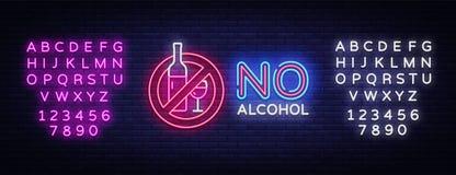 Отсутствие вектора неоновой вывески алкоголя Неоновая вывеска шаблона дизайна алкоголя запрета, светлое знамя, неоновый шильдик,  бесплатная иллюстрация