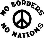 Отсутствие границ никакие нации не подписывают и Тихий океан символ Схематический социальный черно-белый штемпель Стоковое Изображение RF