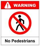 Отсутствие доступа для знака запрета пешеходов, иллюстрации Красный запрещенный предупреждающий символ изолированный на белизне Ч Стоковая Фотография