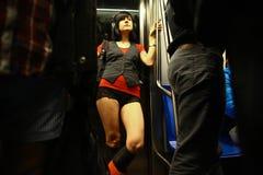 Отсутствие езды метро брюк в Бухаресте, Румынии Стоковые Изображения