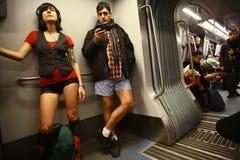 Отсутствие езды метро брюк в Бухаресте, Румынии Стоковые Фото