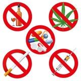 Отсутствие лекарства, курить и спирт Стоковое Изображение RF