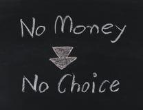 Отсутствие денег отсутствие выбора на классн классном Стоковые Фотографии RF