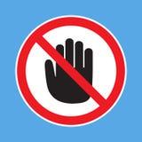 Отсутствие запрета входа не коснитесь Запрещенный знак с значком глифа руки стопа бесплатная иллюстрация