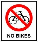Отсутствие знака велосипеда отсутствие символа велосипедов для общественных мест предупреждая иллюстрацию вектора Стоковое Изображение RF
