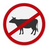 Отсутствие знака говядины Диетическое ограничение также вектор иллюстрации притяжки corel Стоковые Фотографии RF