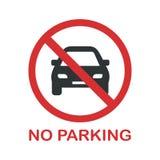 Отсутствие знака запрета автостоянки Вы не можете припарковать автомобиль здесь иллюстрация штока
