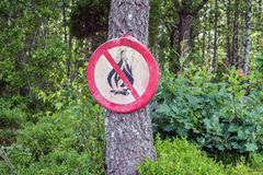Отсутствие знака пожара Предупреждение открытого пламени запрета Стоковые Изображения