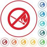Отсутствие знака пожара Символ открытого пламени запрета иллюстрация вектора