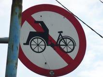 Отсутствие знака рикши цикла Стоковая Фотография RF