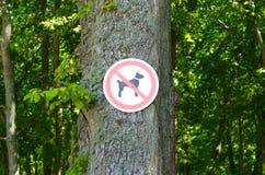 Отсутствие знака собаки на предпосылке деревьев Стоковые Изображения