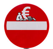 Отсутствие знака уличного движения входа валюты евро Стоковые Изображения