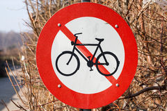 Отсутствие знака уличного движения велосипедов Стоковое Изображение