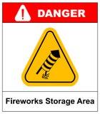 Отсутствие значка вектора фейерверков предупреждающего Стоковое фото RF