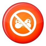 Отсутствие значка знака бабочки, плоского стиля Стоковое Фото