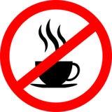 Отсутствие значка знака кофейной чашки, красного знака запрета, символа стопа, изолированного на белой предпосылке Стоковая Фотография RF