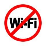 Отсутствие значка сигнала wifi Яркое предупреждение, знак ограничения на белой предпосылке бесплатная иллюстрация
