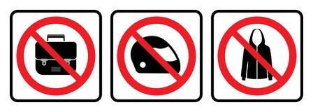 Отсутствие значка сумок, отсутствие значка шлема, отсутствие знака куртки бесплатная иллюстрация
