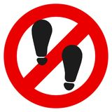 Отсутствие иллюстрации вектора знака запрета шага ноги иллюстрация вектора