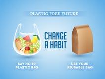 Отсутствие используя полиэтиленовых пакетов и использования многоразовых органических сумок на пластиковое свободное будущее иллюстрация вектора
