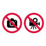 Отсутствие камера и видео- красные знаки запрета Фотографирующ и записывающ не позволенный Отсутствие фотографируя знака Отсутств бесплатная иллюстрация
