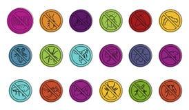 Отсутствие комплекта значка знака насекомых, стиля плана цвета бесплатная иллюстрация