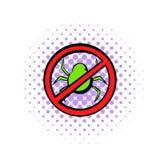 Отсутствие компьютерного вируса, значка знака запрета иллюстрация штока