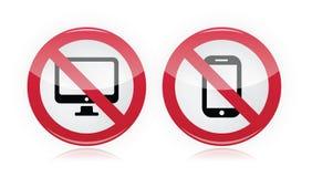 Отсутствие компьютер, отсутствие передвижной или запрещенный сотовый телефон -, красный предупредительный знак Стоковые Изображения