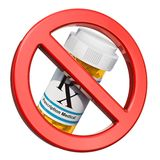 Отсутствие концепции лекарств Знак запрещенный с лекарствами медицинских бутылок полными бесплатная иллюстрация