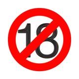 Отсутствие концепции 18 лет старой Под 18 летами знака запрета перевод 3d бесплатная иллюстрация