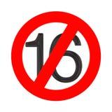 Отсутствие концепции 16 лет старой Под 16 летами знака запрета r иллюстрация штока