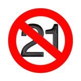 Отсутствие концепции 21 лет старой Под 20 одним лет знака запрета r бесплатная иллюстрация