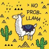 Отсутствие ламы prob Милая карта вектора ламы мультфильма бесплатная иллюстрация