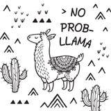Отсутствие ламы prob Печать вектора ламы мультфильма чернил иллюстрация вектора