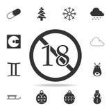 Отсутствие 18 лет, под значком 18 знаков Детальный комплект значков сети Наградной качественный графический дизайн Один из значко Иллюстрация штока