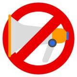 Отсутствие мегафона или отсутствие иллюстрации вектора знака запрета диктора иллюстрация штока