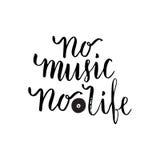 Отсутствие музыки отсутствие цитаты жизни вдохновляющей о музыке Плакат литерности для музыкальной школы или поздравительной откр иллюстрация штока