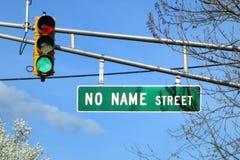 Отсутствие названной улицы имени знаком уличного движения Дороги Направления Стоковые Изображения RF