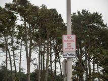 Отсутствие парковать в любое время знак со стрелками указывая оба направления вися с деревьями стоковое фото rf