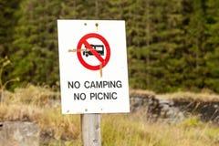 Отсутствие располагаться лагерем отсутствие знака пикника Стоковое Изображение