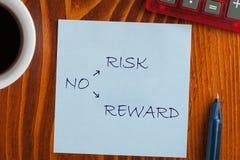 Отсутствие риска отсутствие вознаграждения стоковая фотография rf