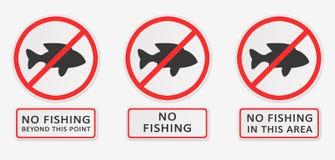 Отсутствие рыболовства установите знаки Стоковое Изображение RF